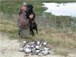 A black Lab, her buddy and the ducks they harvested