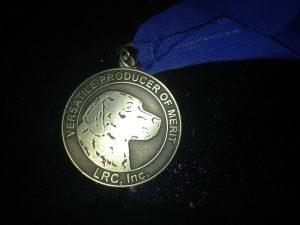 Arwen's medal for earning the LRC's Versatile Producer of Merit award