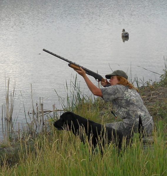 Tory watching the birds go down during a duck hunt