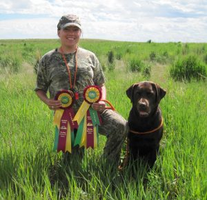 Chocolate Lab finishes he Started Hunter (SHR) title